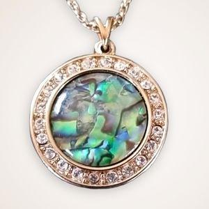 Nina Ricci Rhinestone Abalone Pendant Necklace